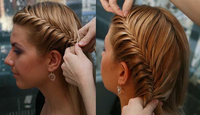 Прически из кос на средние волос